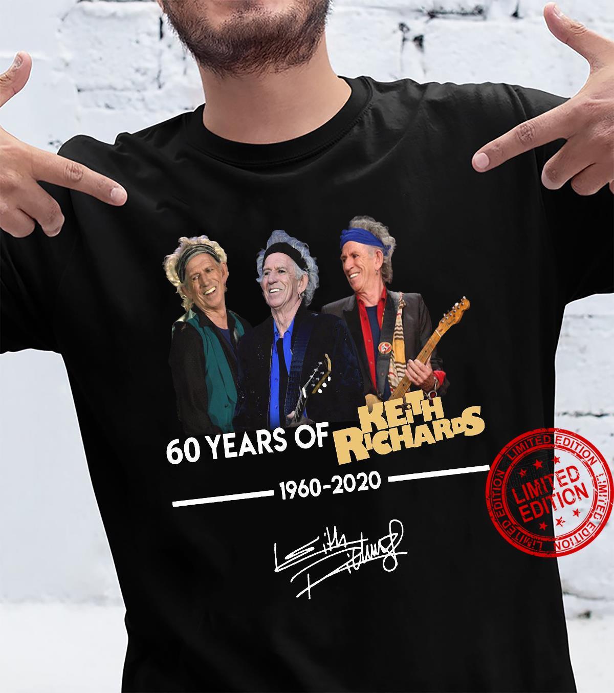 60 Years Of Keith Richards 1960-2020 Shirt