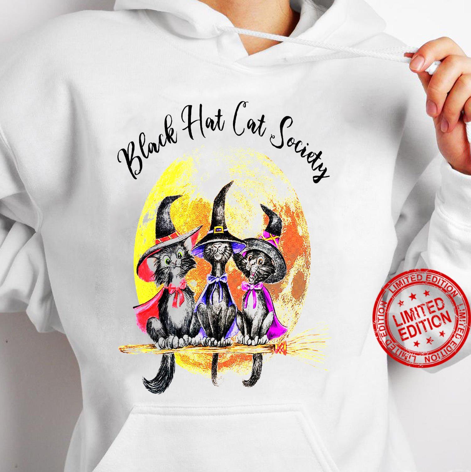 Black Hat Cat Society Shirt hoodie