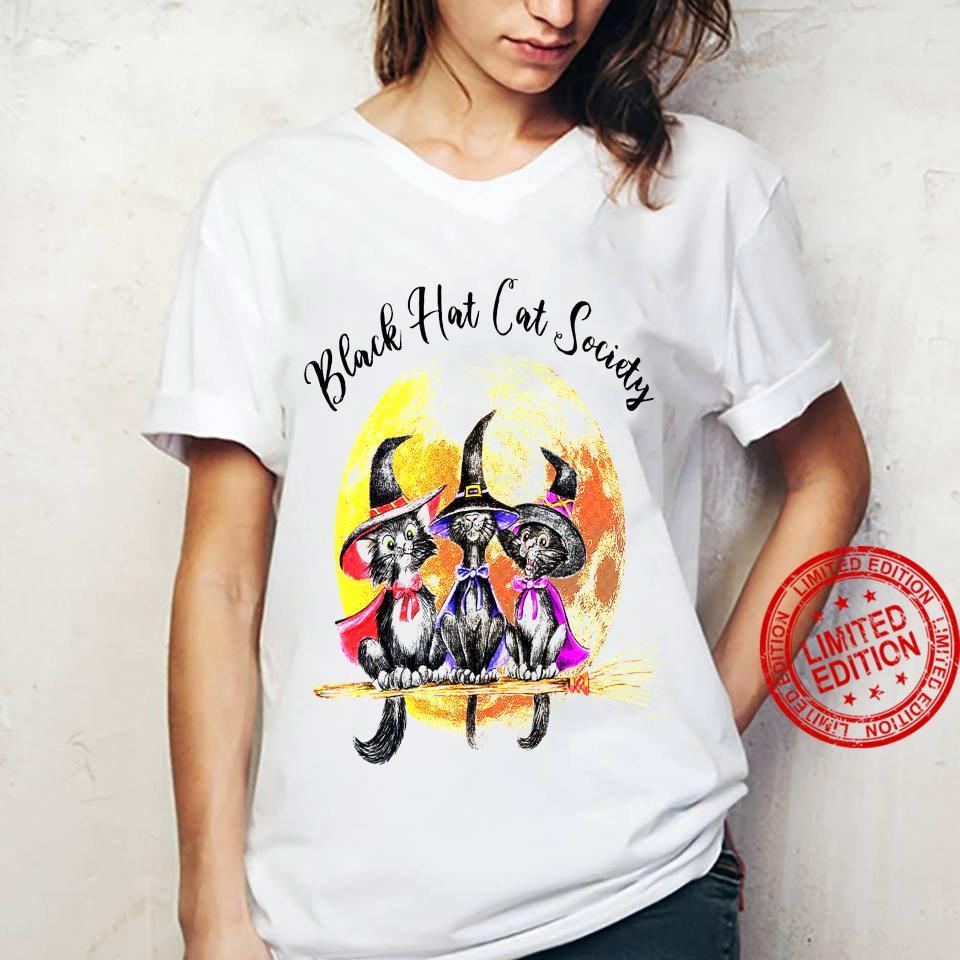 Black Hat Cat Society Shirt ladies tee