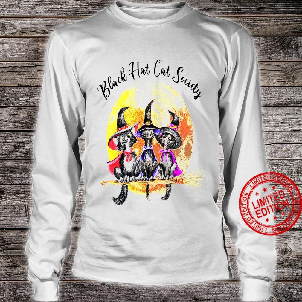 Black Hat Cat Society Shirt long sleeved