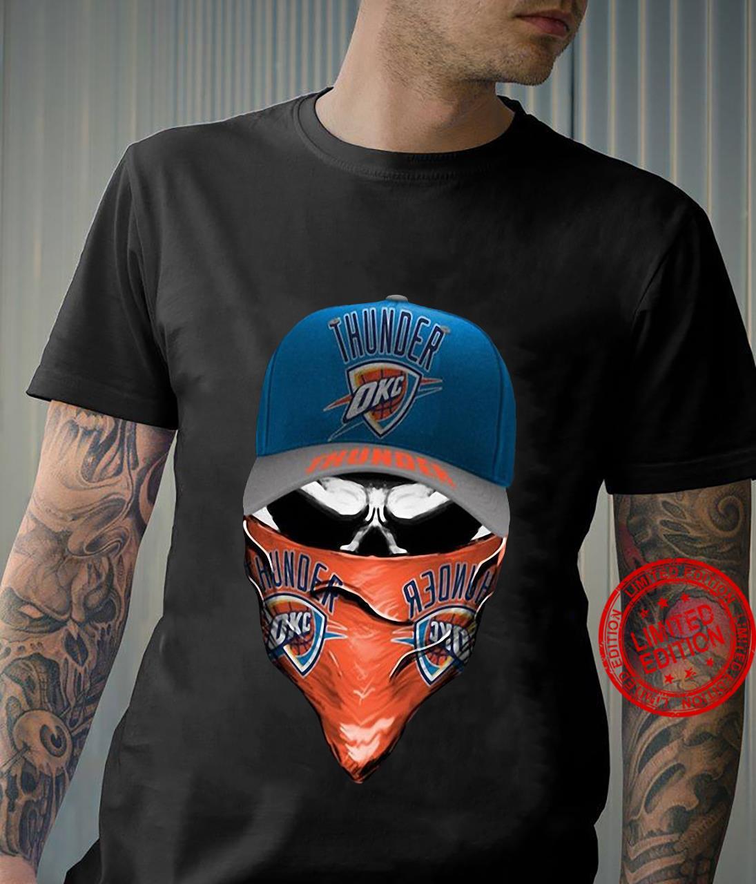 Thunder OKC Skull With Face Mask Shirt