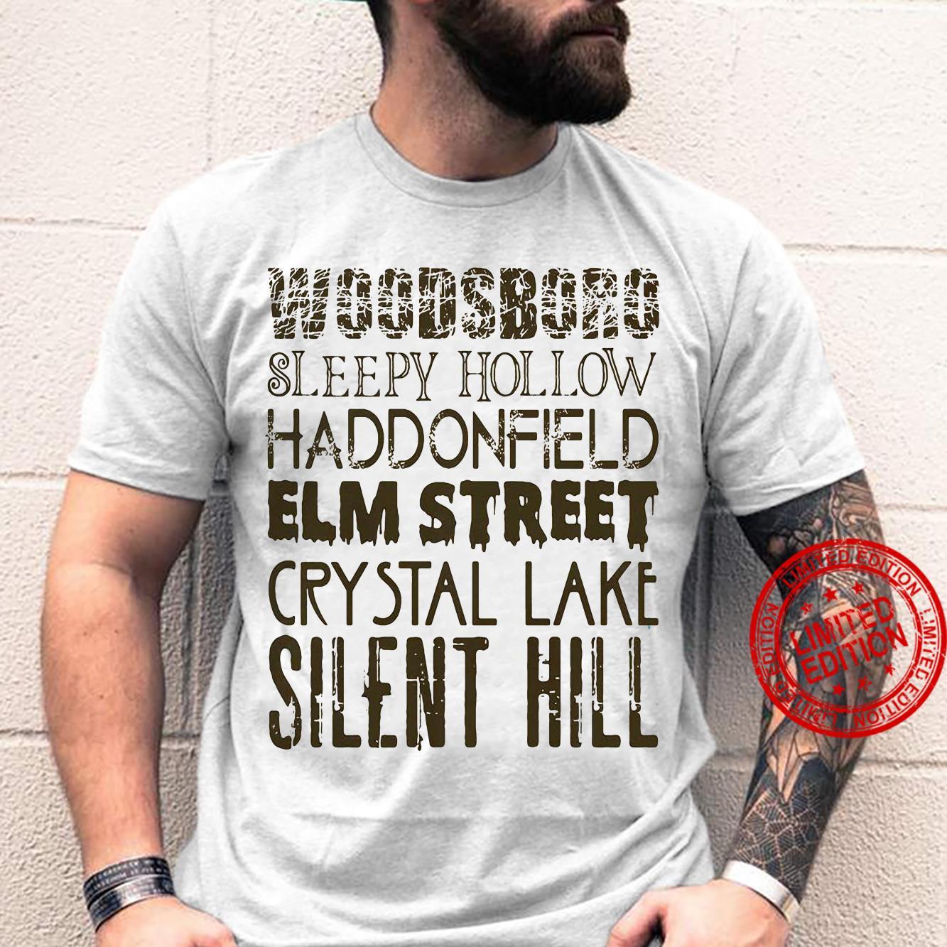 Woodsboro Sleepy Hollow Haddonfield Elm Street Crystal Lake Silent Hill Shirt