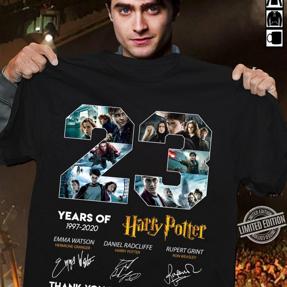 23 Years Of Harry Potter Signatures Thanks For The Memories Shirt