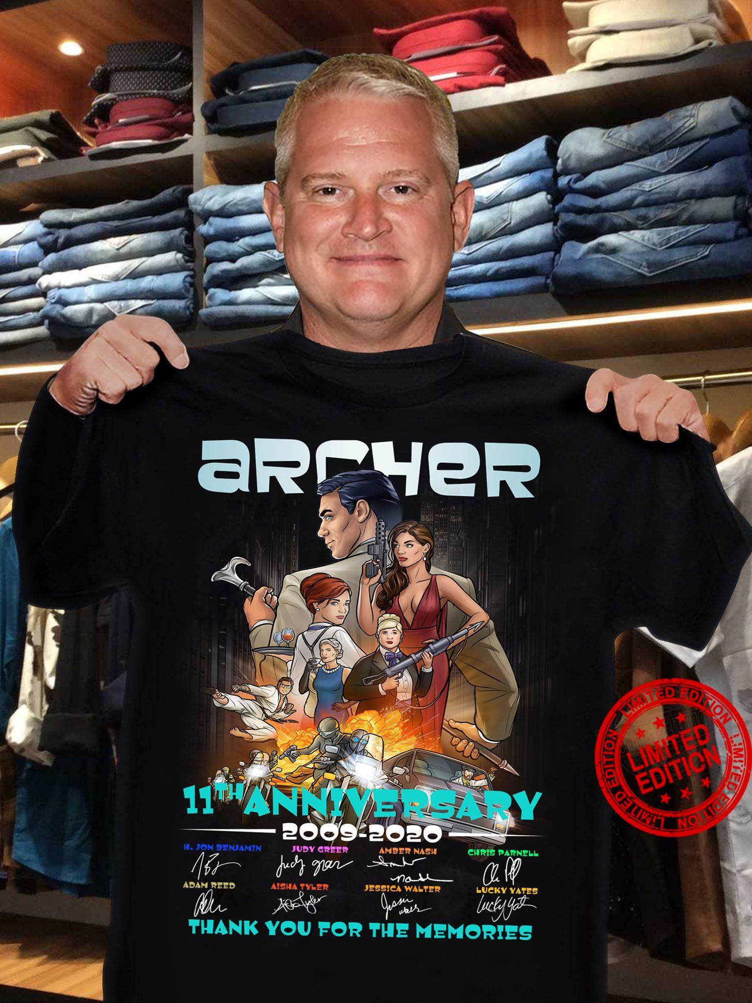 Archer 11th Anniversary 2009-2020 Thank You For The Memories Shirt
