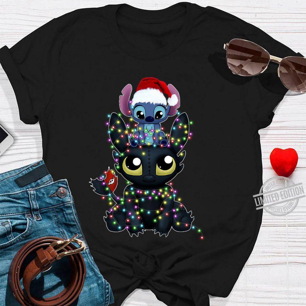Baby Stitch And Baby Night Fury Christmas Light Shirt