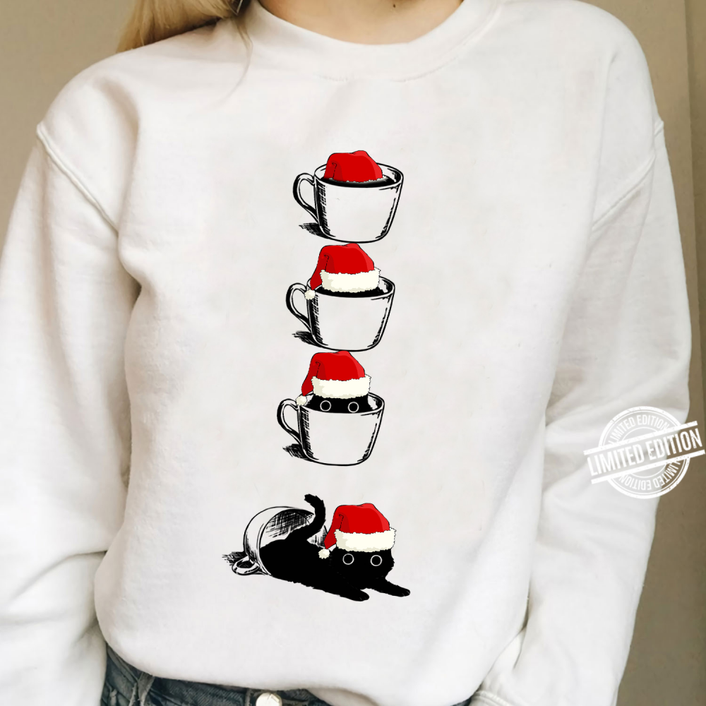 Cat And Coffee Merry Christmas Shirt