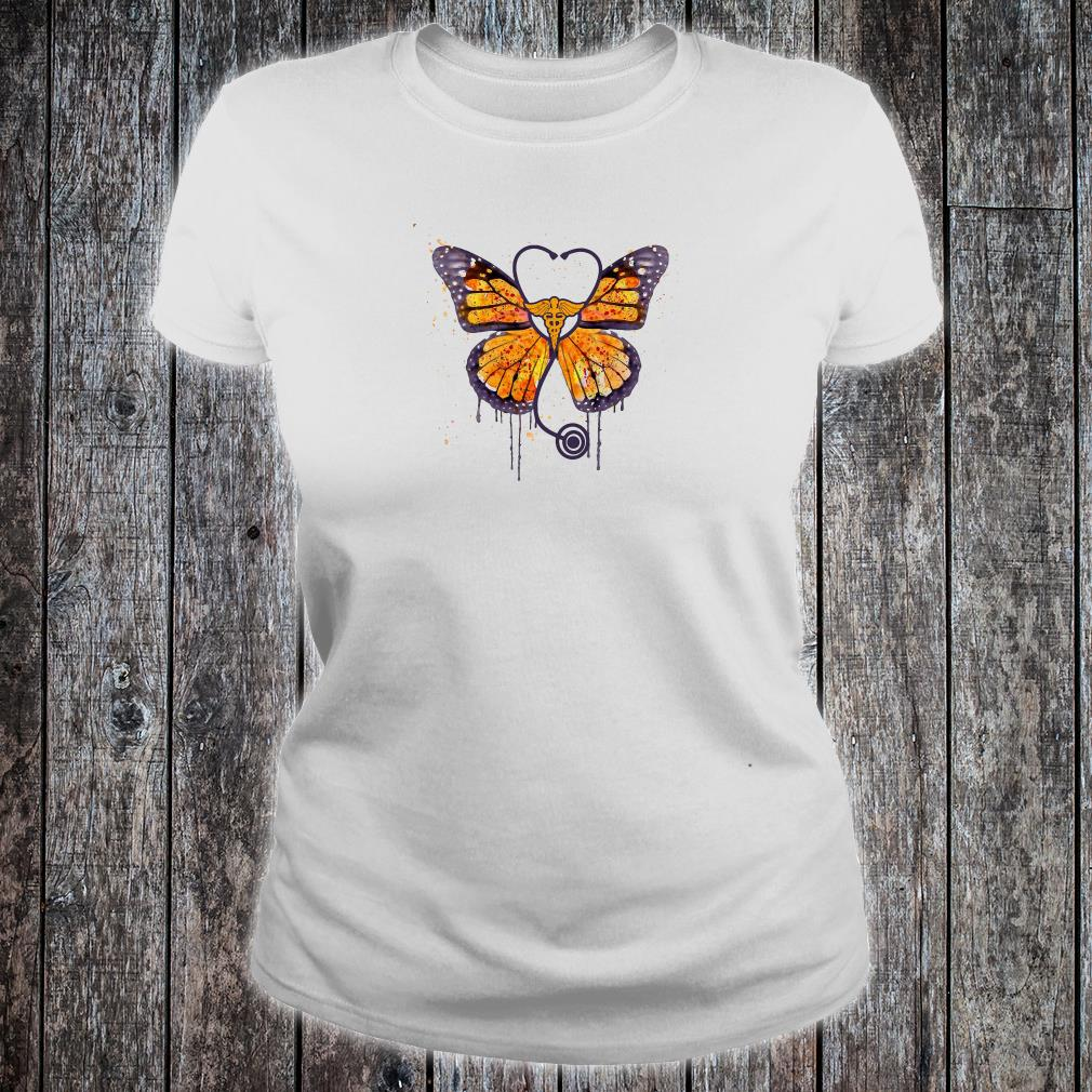 Monarch butterfly stethoscope shirt ladies tee