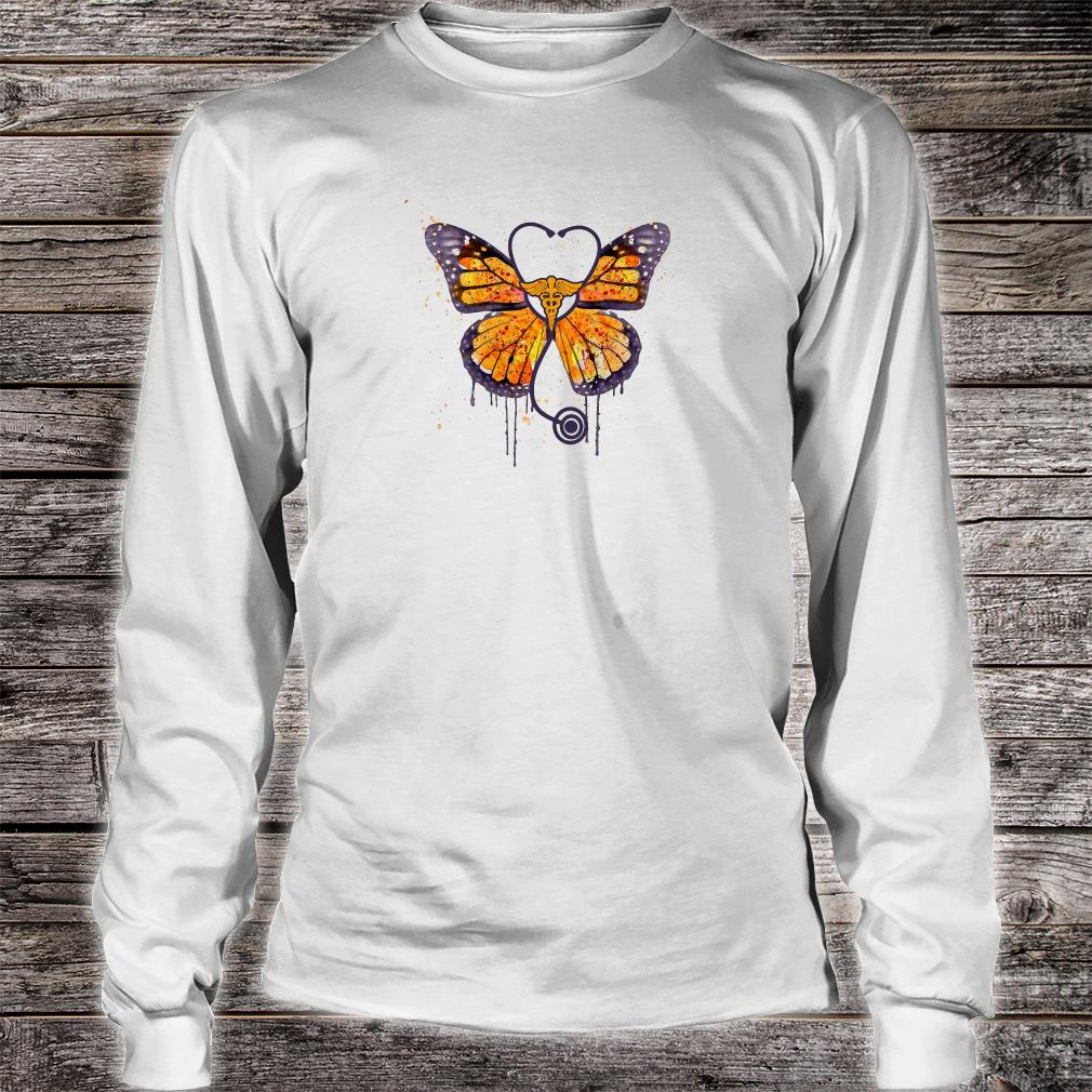Monarch butterfly stethoscope shirt long sleeved