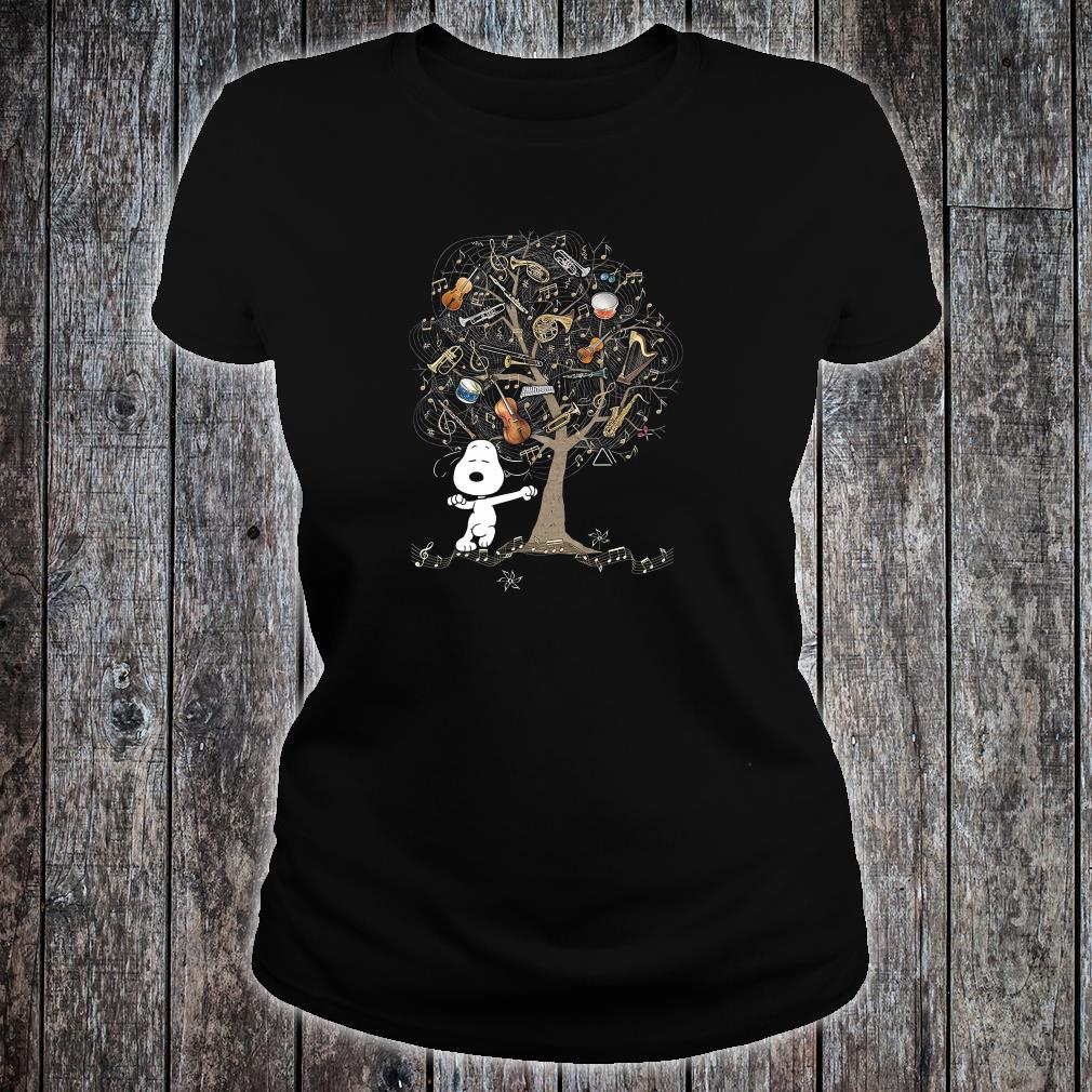 Snoopy and instrument tree shirt ladies tee