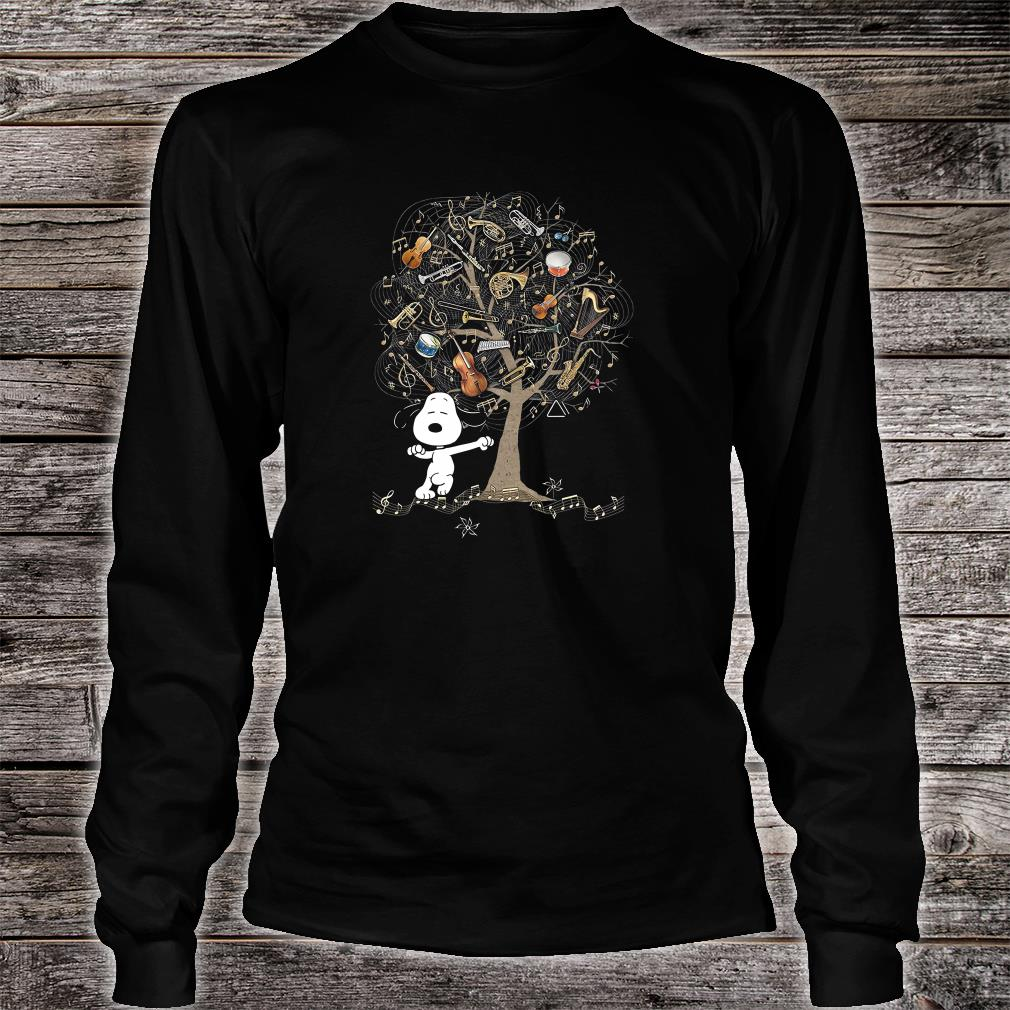 Snoopy and instrument tree shirt long sleeved