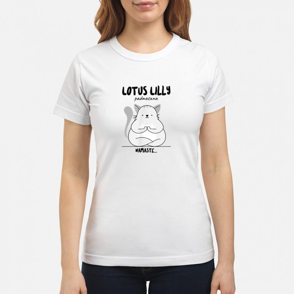Yoga Cat Lotus Lilly Padmasana Namaste Shirt ladies tee