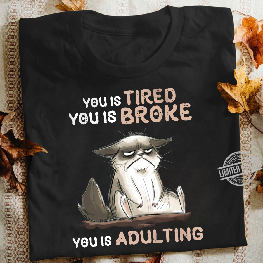 You Is Tired You Is Broke You Is Adulting Cat Shirt